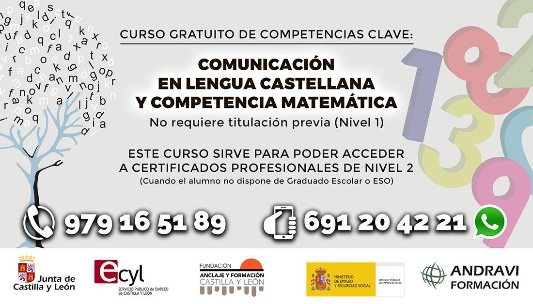CURSO DE COMPETENCIAS CLAVE: COMUNICACIÓN EN LENGUA CASTELLANA Y COMPETENCIA MATEMÁTICA (FCOV27)