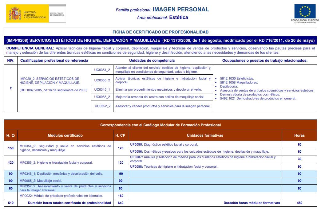 SERVICIOS ESTÉTICOS DE HIGIENE, DEPILACIÓN Y MAQUILLAJE (IMPP0208)